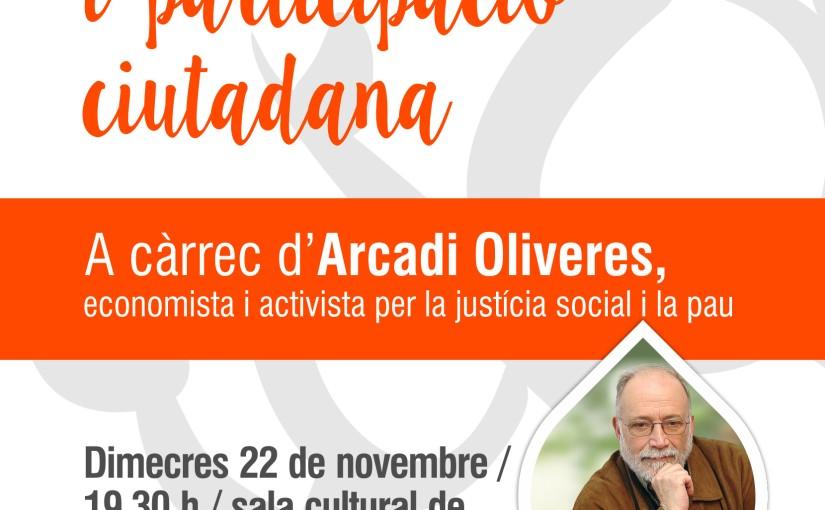 L'economista i activista Arcadi Oliveres fa pedagogia sobre participació ciutadana aSolsona